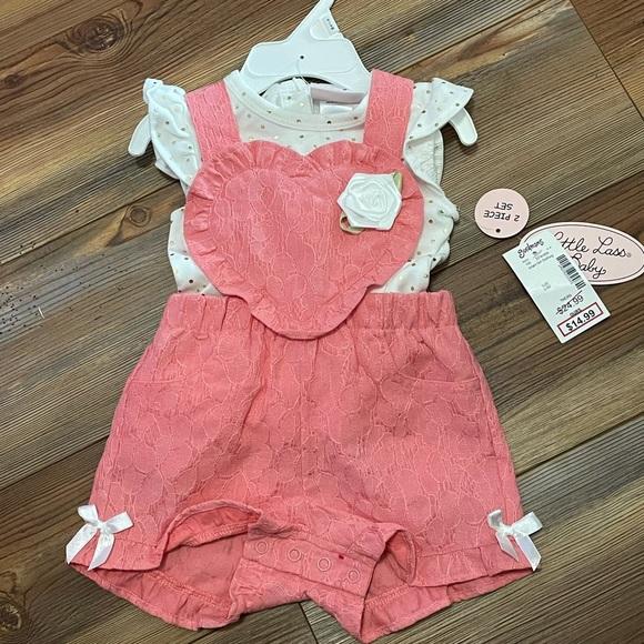 Baby Girl Heart Overalls Romper Set 6-9m